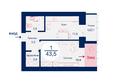 SCANDIS (Скандис), дом 9: Планировка однокомнатной квартиры 43,5 кв.м