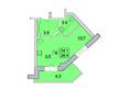 Первый Ленинский квартал, д. 2: Планировка 1-комн 28,4 м²