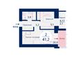 SCANDIS (Скандис), дом 1: Планировка двухкомнатной квартиры 41,2 кв.м