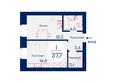 SCANDIS (Скандис), дом 1: Планировка однокомнатной квартиры 37,7 кв.м