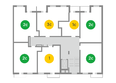 Жилой комплекс ЯСНЫЙ БЕРЕГ, дом 10, б/с 1-3 : Блок-секции 2 и 3. Планировка типового этажа