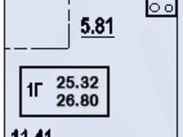 1-комнатная квартира, 25.32  м², 7/18 этаж