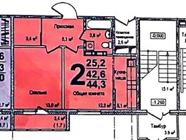 2-комнатная квартира, 44  м², 3/16 этаж
