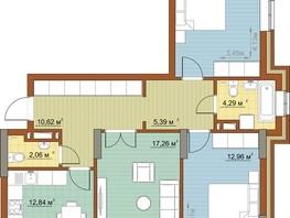 3-комнатная квартира, 79.34  м², 21-22/22 этаж