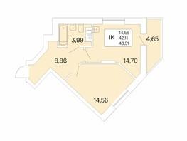 1-комнатная квартира, 43.51  м², 14/22 этаж