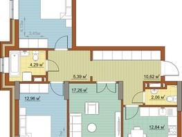 3-комнатная квартира, 79.34  м², 9/22 этаж