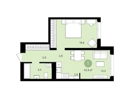 1-комнатная квартира, 47.58  м², 9/18 этаж