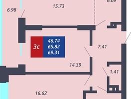 Продается 3-комнатная квартира ЧКАЛОВ, дом 1, 65.82  м², 5528880 рублей