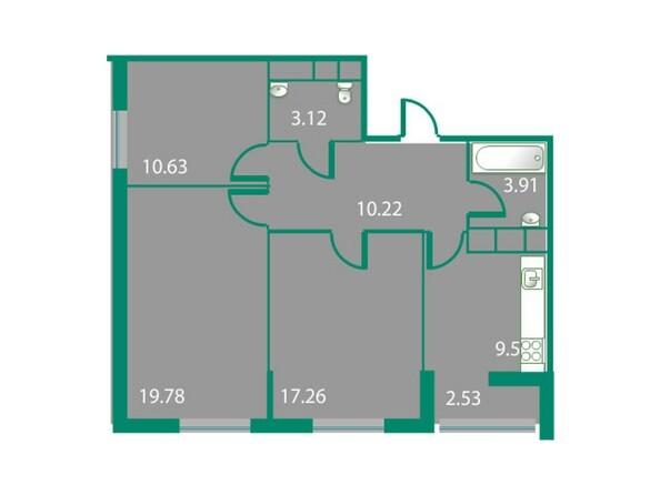 Планировки Жилой комплекс ИЗУМРУДНЫЙ БЕРЕГ, дом 1.1 - Планировка трехкомнатной квартиры 74 кв.м