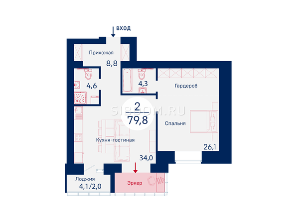 Планировки Жилой комплекс SCANDIS (Скандис), дом 6 - Планировка двухкомнатной квартиры 79,8 кв.м