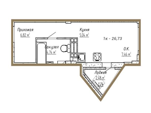 Планировки Жилой комплекс ДОМ НА СИБИРСКОЙ - Планировка однокомнатной квартиры 26,73 кв.м