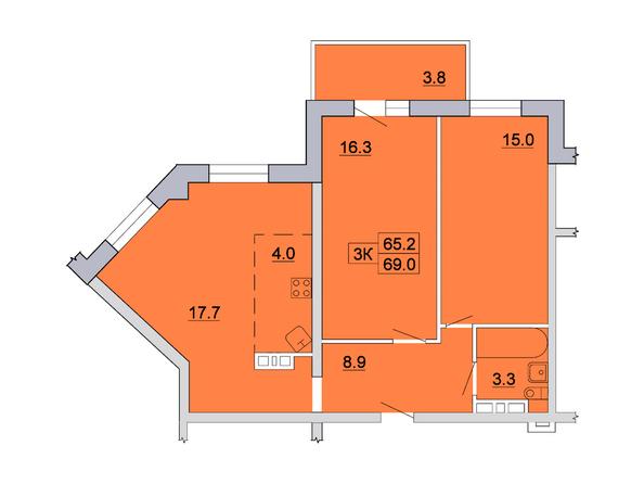 Планировка 3-комн 69, 69,3 м²