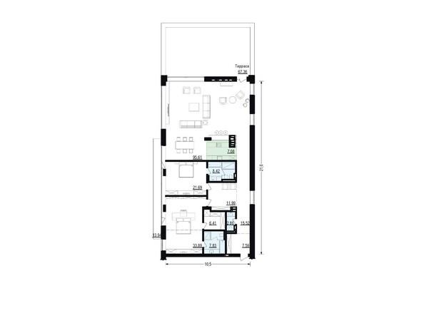 Планировки Жилой комплекс ЖУКОВКА, б/с 4 - Планировка четырехкомнатной квартиры 218,89 кв.м