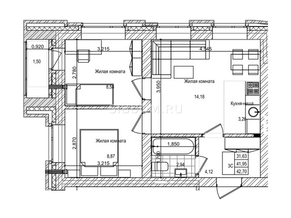 Планировка 3-комн 41,9, 42 м²