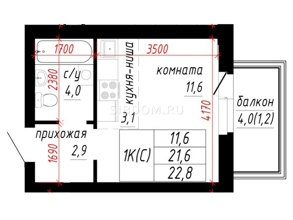 1-комнатная 21.6; 22.8 кв.м