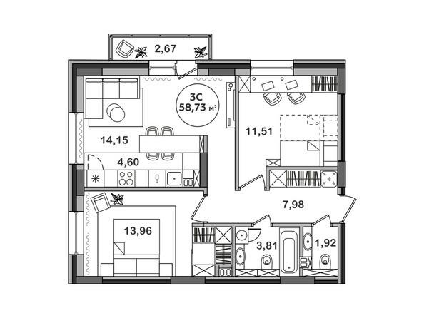 Планировка 3-комн 58,73 м²