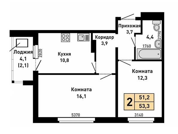 Планировка 2-комн 51,2, 53,3 м²