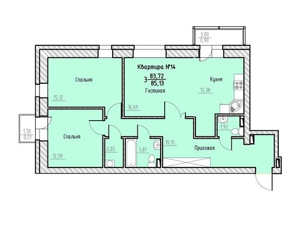 Планировка 3-комн 85,13 м²