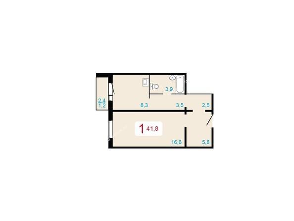 1-комнатная 41,8 кв.м