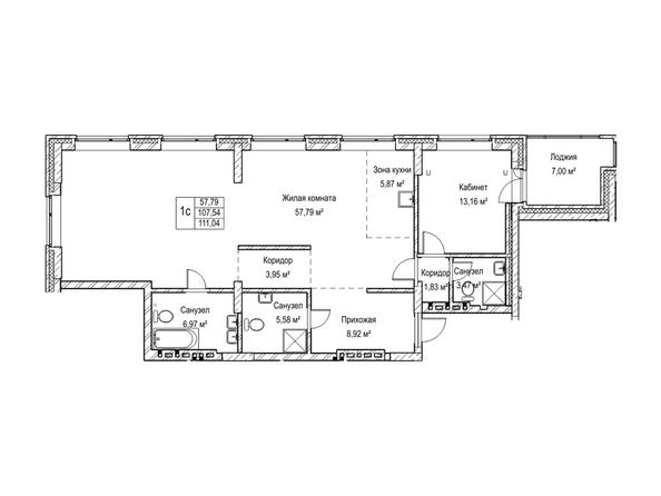 Планировки Жилой комплекс ЯДРИНЦЕВСКИЙ КВАРТАЛ - 1-комнатная студия 107,5 кв.м. Блок-секция 3