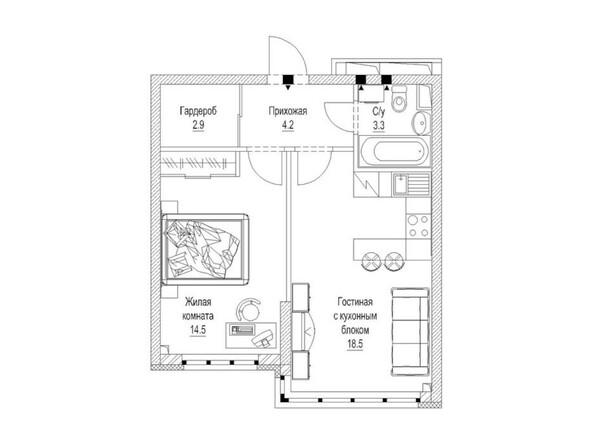 Планировка 1-комн 44, 44,3 м²