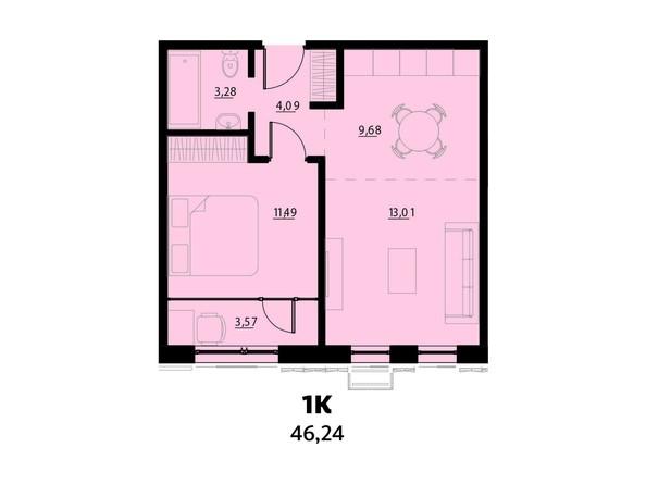 Планировка 1-комнатной 46,24 кв.м