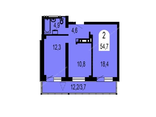 Планировки Жилой комплекс ТИХИЕ ЗОРИ, дом 1 (Красстрой) - Планировка двухкомнатной квартиры 54,7 кв.м