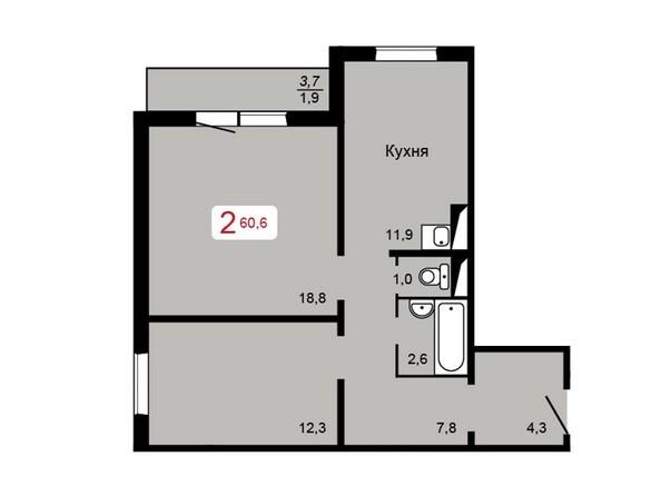 Планировка 2-комн 60,6 м²