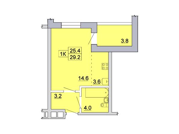 Планировка 1-комн 29,1, 29,2 м²