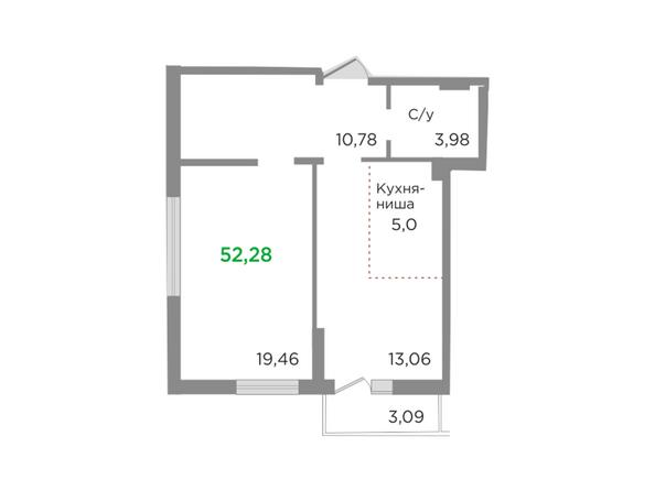 Планировки Жилой комплекс ЯСНЫЙ БЕРЕГ, дом 10, б/с 1-3  - Планировка двухкомнатной квартиры 52,28 кв.м