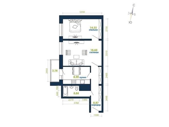Планировка 2-комн 58,72 м²