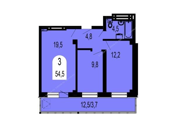 Планировка трехкомнатной квартиры 54,5 кв.м