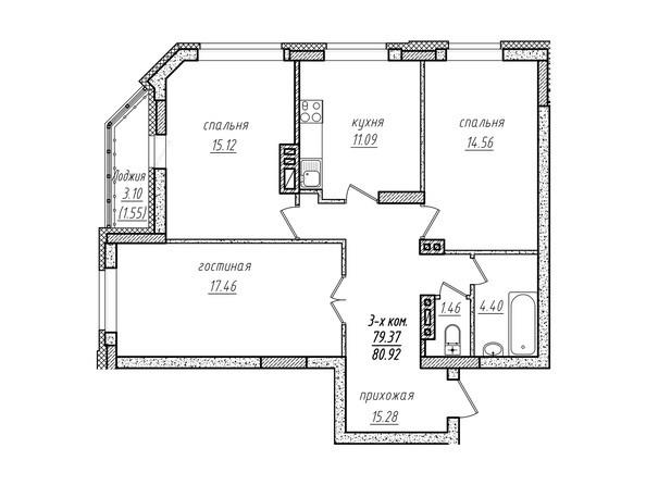3-комнатная 80.92 кв.м