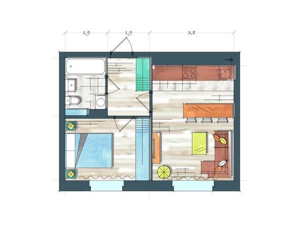 Планировки Жилой комплекс ПРЕОБРАЖЕНСКИЙ, дом 22, этап 2 - Планировка однокомнатной квартиры 38,3 кв.м