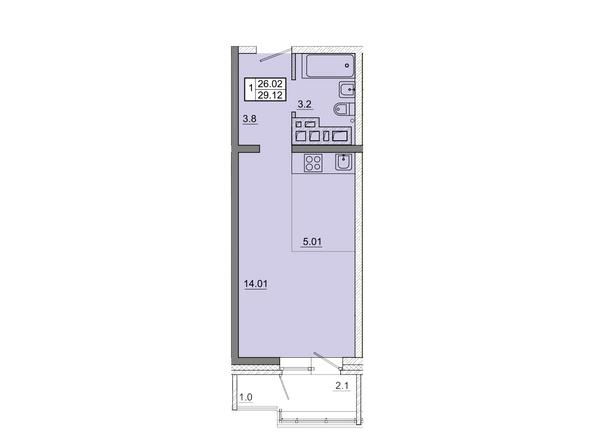 1-комнатная 29,12 кв.м