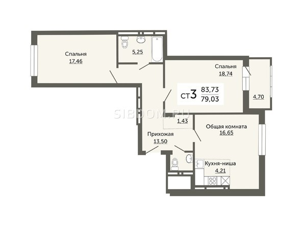 Планировки Жилой комплекс ДОМ НА НЕМИРОВИЧА, б/с 1 - Планировка трехкомнатной квартиры 79,03 кв.м