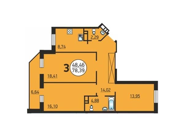 3-комнатная 78,39 кв.м