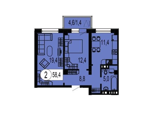 Планировка двухкомнатной квартиры 58,4 кв.м