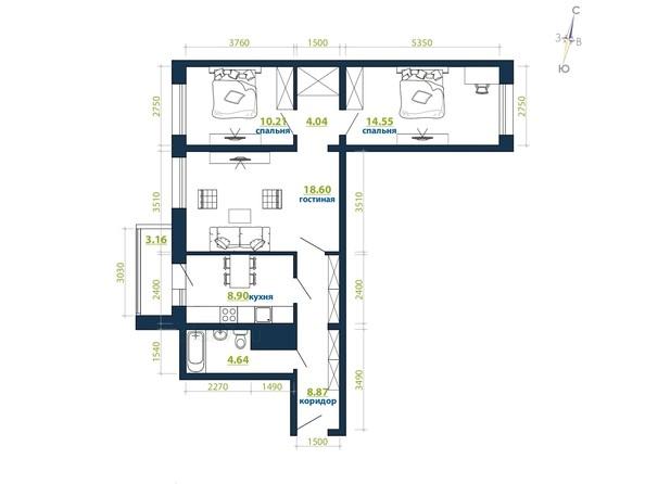 Планировка 3-комн 0 - 73,87 м²