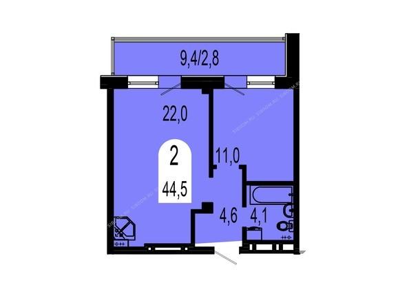 Планировки Жилой комплекс ТИХИЕ ЗОРИ, дом 1 (Красстрой) - Планировка двухкомнатной квартиры 44,5 кв.м
