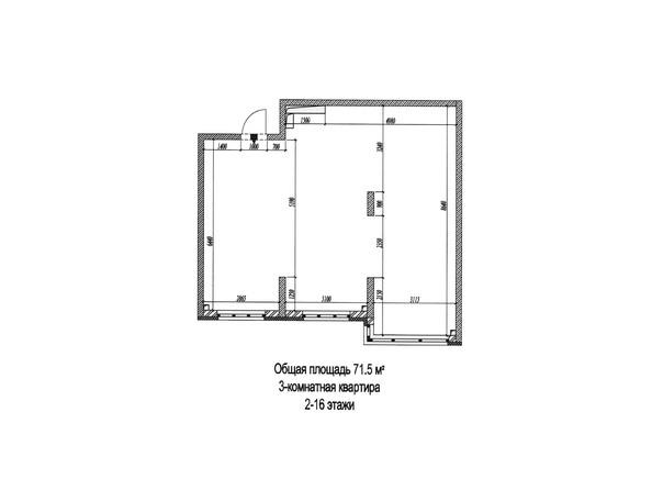 Планировки Жилой комплекс МИЧУРИНСКАЯ АЛЛЕЯ, 58 корпус 4  - Планировка трёхкомнатной квартиры 71,5 кв.м