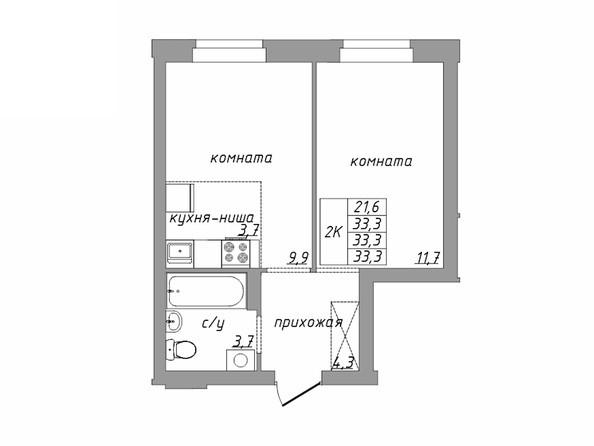Планировка 2-комн 33,3 м²