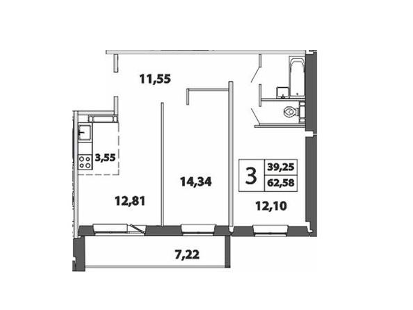 3-комнатная 62.58; 63.21 кв.м
