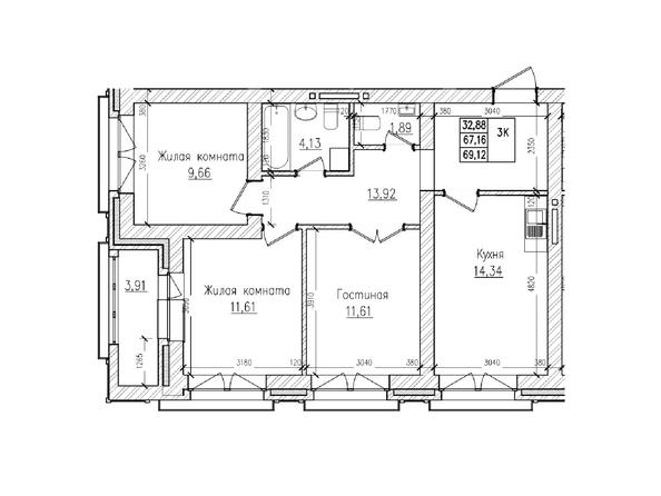 Планировки Жилой комплекс КРАСНЫЙ ПРОСПЕКТ, дом 2 - 3-комнатная 67,1 кв.м