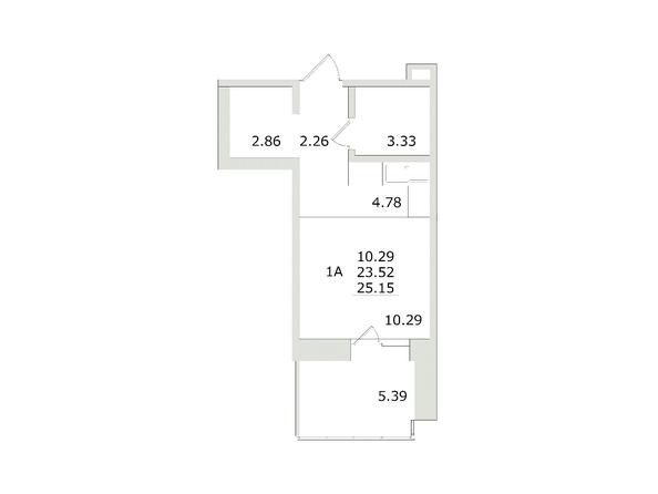 1-комнатная 25,15 кв.м