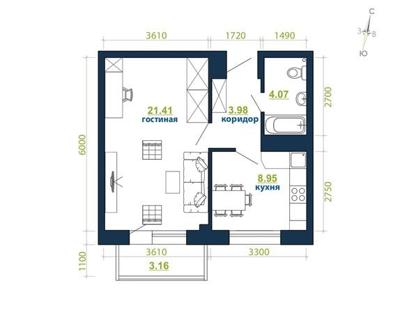 Планировка 1-комн 41,57 м²