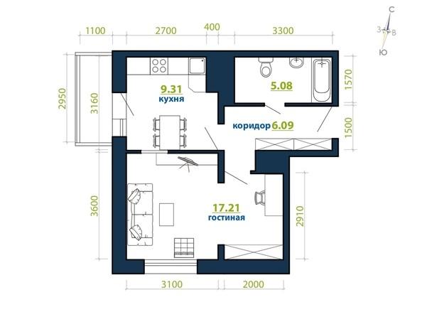 Планировка 1-комн 40,85 м²