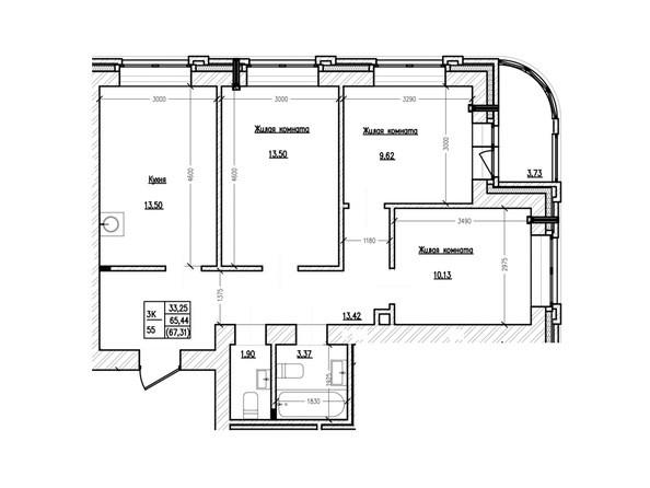 Планировка 3-комн 67,31 м²