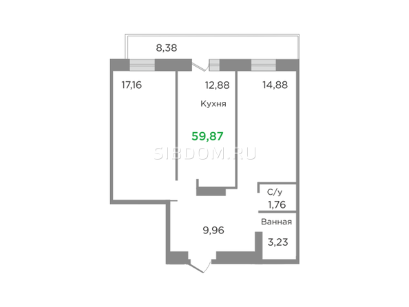 Планировки Жилой комплекс ЯСНЫЙ БЕРЕГ, дом 7 - Планировка двухкомнатной квартиры 59,87 кв.м
