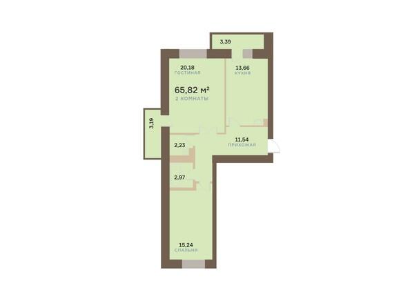 Планировки Жилой комплекс АЛЕКСАНДРОВСКИЙ, дом 1 - 2-комнатная 65,82 кв.м